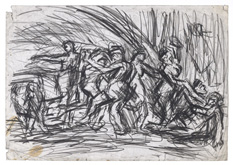 From Poussin:  A Bacchanalian Revel before a Herm by Leon Kossoff at Annandale Galleries